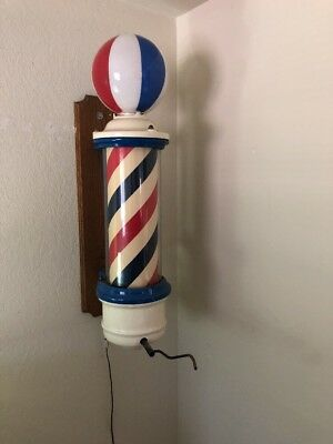 Early Vintage Theo Kochs Porcelain Barber Shop Revolving Light Pole ** Works **
