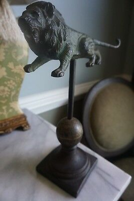 Vintage Cast Iron Weathered Rustic Primitive Lion On Spindle Finial Home Decor