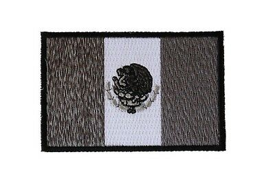 """(D3) Black White Gray MEXICAN FLAG 3"""" x 2"""" iron on patch (6190) Mexico"""