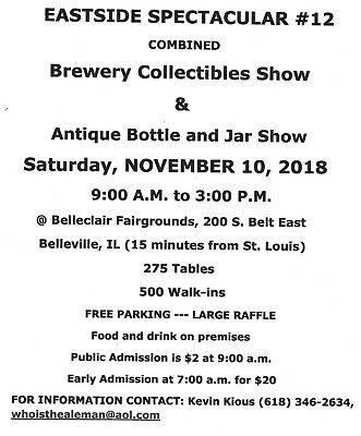 Come To The Metro-East Antique Bottle & Brewery Show Sat Nov 10th Belleville,IL.