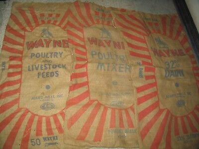 Three Vintage Wayne Feeds Burlap Sacks Poultry & Dairy