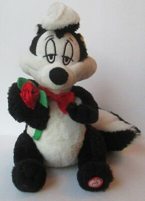"TALKING VALENTINE'S DAY PEPE LE PEW 8"" PLUSH DOLL HAS HOLE Looney Tunes Hallmark"