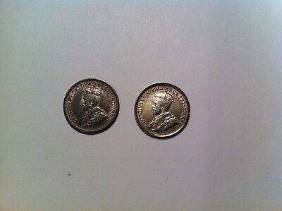 1912 + 1919 Canada 5 Cent, Silver, Nice Grades, Canadian five 1/2 dime Lot (331)