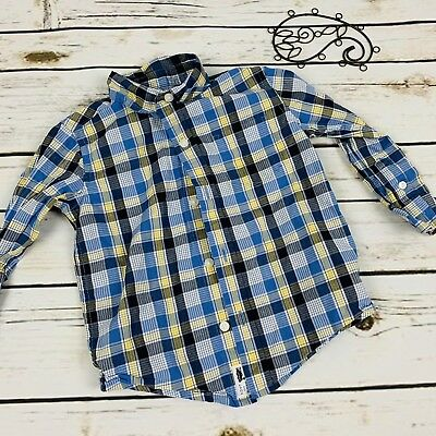 Janie And Jack Button Up Shirt Boys Size 18-24 Months Plaid Long Sleeve