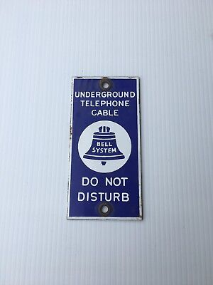 ORIGINAL 1970's Underground Bell System Telephone Cable Porcelain Tab/Marker