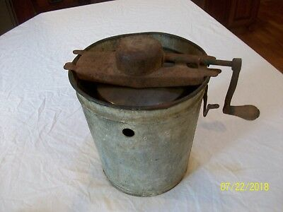 VINTAGE Antique Hand Cranked Ice Cream Maker, Tin Metal Bucket