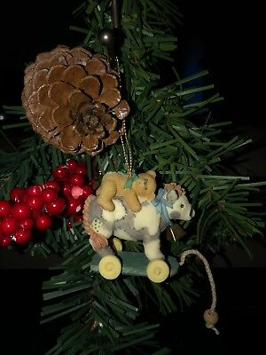 Cherished Teddies Ornament Antique Toy Cow With Bear Item #707120