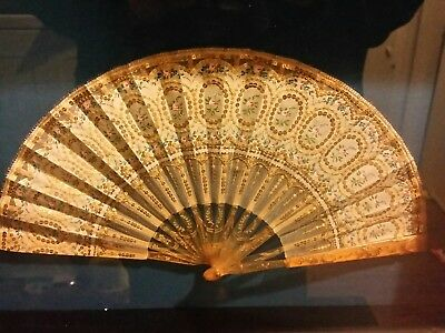 ANTIQUE VICTORIAN FRENCH SEQUIN LACE HAND FAN with CARVED BLADES FRAMED