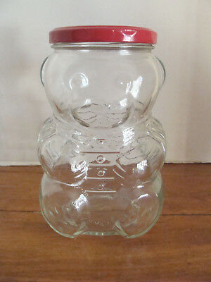 VTG 1988 Kraft Teddy Bear Glass Grape Jelly Jar Red Metal Lid w/Label Intact