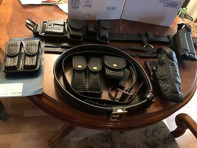 Bianchi Basketweave Duty Belt W/ Accessories & Two Belts- Safari Land & Garrison
