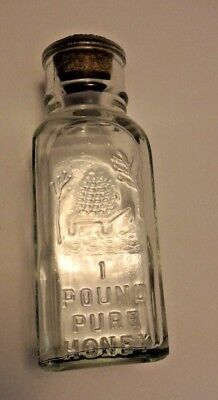 Vintage HONEY ACRES 1 Pound Pure Honey Embossed Square Bottle With Cork