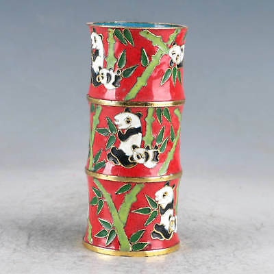 Chinese Cloisonne Hand-made Panda&Bamboo Brush Pots JTL1023