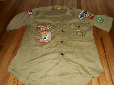 Vintage BOY SCOUT BSA SAC N FOX WINNEBAGO COUNCIL KLONDIKE UNIFORM PATCHES SHIRT