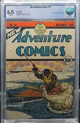 New Adventure Comics #31 CBCS 6.5 WHITE pages! 1938 Like CGC Classic Golden Age