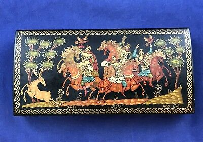 Vintage Russian Black Lacquer Hinged Trinket Box Horse Scene - Signed