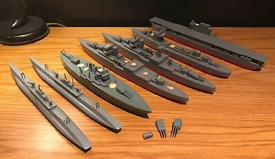 Vintage Wooden Toy Model Battleship Aircraft Carrier Submarine Art Navy Military
