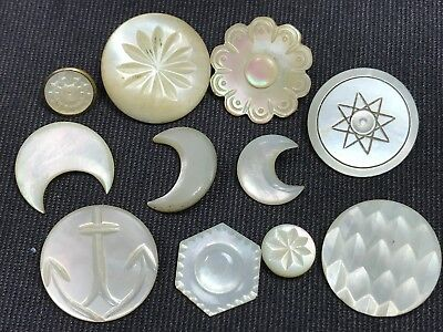Antique Button Lot Carved White MOP Shell with Shanks - 11 Total
