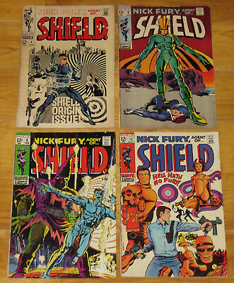 Marvel 1968-1969 NICK FURY AGENT OF SHIELD No. 4, 8 VG+, 9 Fine, 12 VG/F & 13 NR