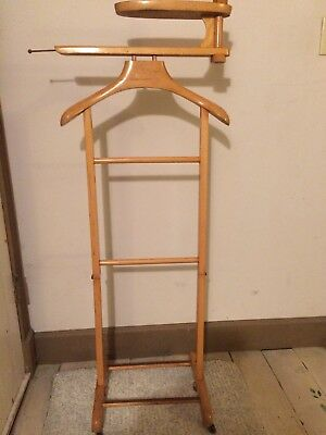 Vintage Men's Valet Suit Rack Butler Wood Organizer Made in Italy