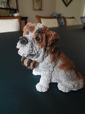 STONE CRITTERS ST BERNARD Dog Puppy Figurine WITH KEG,W LABEL & SIGNED