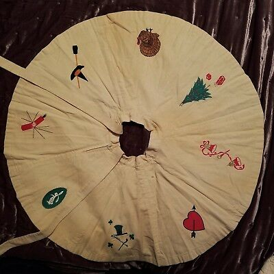 Girl's Vintage Circle Skirt Pale Yellow Corduroy w/ Embroidered Holiday Symbols