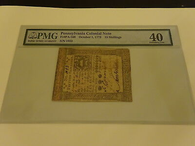 Genuine October 1, 1773 Pennsylvania 15 Shillings  Note Nr!