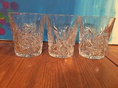 Set of 3 Vintage Pressed Glass Double Old Fashioned Whiskey Glass Tumblers