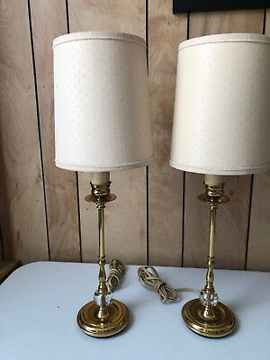 Vintage Heavy Pair Of Brass Glass Crystal Ball Candlestick Table Lamps