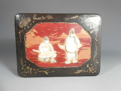 Japan Japanese Black Lacquer Box w/ Mother of Pearl Figural Inlay Decor 20th c