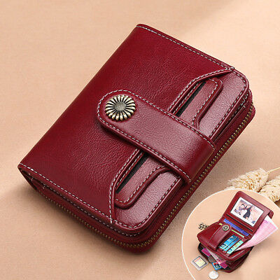 Ladies Women's Genuine Leather RFID Blocking Wallet Bifold Clutch Card Purse Bag