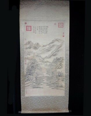 "Very Large Old China Scroll Hand Painting Landscape ""DongBangDa"" Marks"