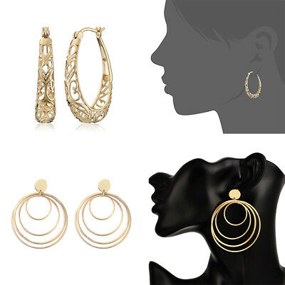 Boho Fashion Women14K Gold Filled Big Hoop Earrings Dangle Earrings Xmas Jewelry