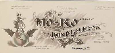 Early 1900's Letterhead~The John F. Bauer Co.~Mo-Ko Steel-Cut Cereal & Coffee~NY