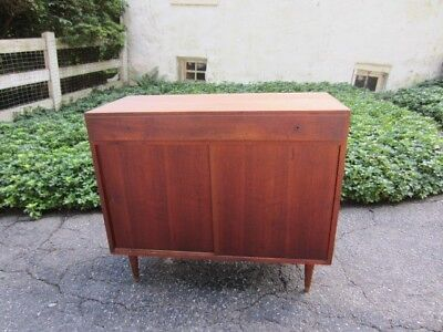 Paul McCobb Style Sliding Door Credenza Storage Cabinet