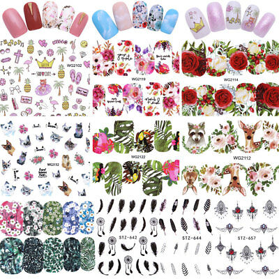 Flowers Water Decal Sheets Nail Art Transfer Sticker Dreamcatcher Leave