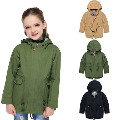 Kids Girls Hooded Jackets Children Boys Windproof Coats Toddler Outerwear 3T-8