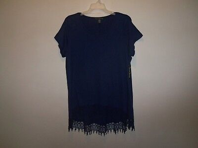 Nwt French Laundry Plus Hi Lo Lace Hem Stretchy Comfy Fall Navy Top 3X 22 24 26