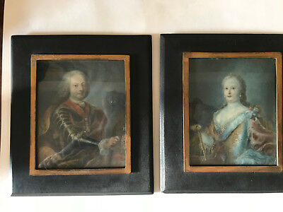 Antique Pair Miniature Portraits French Continental 18th C. Royalty Grand Tour