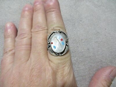 Old Pawn N.American Inlay Shadow Cut Bird Shadow Box Oval Top Sterling Ring s 8