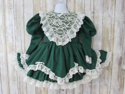 Vintage Little Sweetheart Tiered Ruffle Dress 3T 4T Green Pageant Holiday Circle