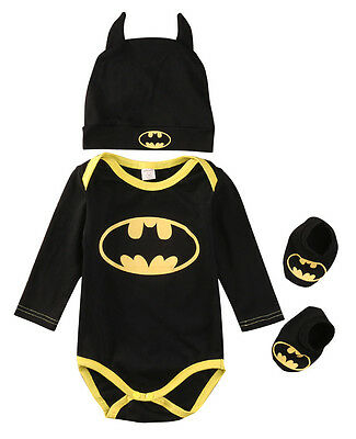 3Pcs Newborn Baby Boy Batman Romper Bodysuit+Shoes+Hat Clothes Outfits Set 0-24M