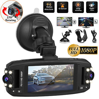 Dual Lens Camera HD 1080P Car DVR Dash Cam Video Recorder G-Sensor Night Vision