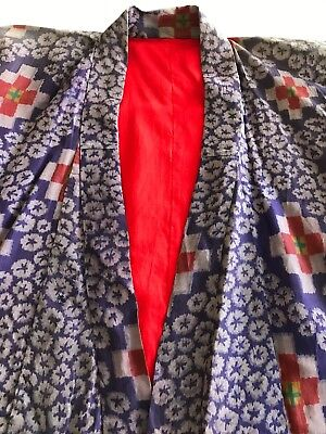 Stunning Vintage, Rough Silk, Lined Robe, Japanese Style Kimono, One Size