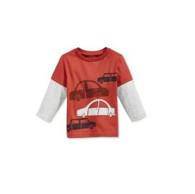 First Impressions Baby Toddler Boys Long Sleeve Car T-Shirt, Cinnamon, 18 Months