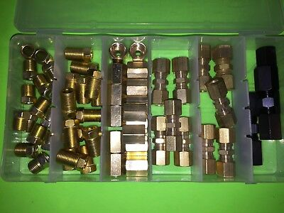 "58 pc 1/4""  BRAKE FUEL OIL COMPRESSION FITTING UNION INVERTED FLARE ASST."