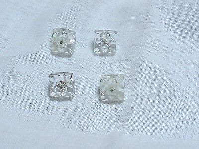 Antique Vintage 4 Square Clear Pressed Glass Design Small Buttons