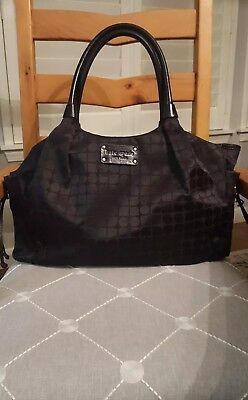 Kate Spade Black XL Nylon Diaper Bag, Green Interior w/auth. card, Chng Pad; EUC