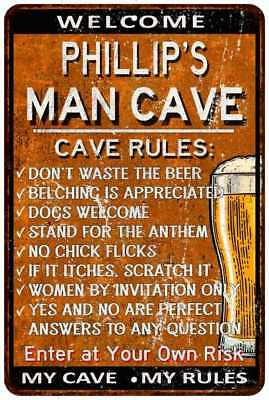 Phillip/'s Man Cave Rules Chic Rustic Green Sign Home Metal 108120049743