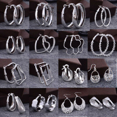 Fashion Women 925 Sterling Silver Dangle Hoop Earrings Charm Gift Xmas Jewelry