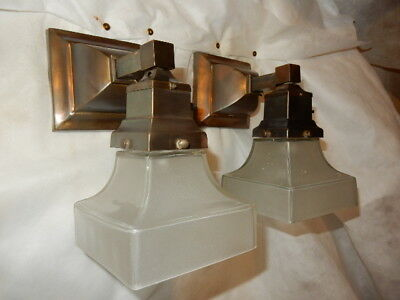 Simple Mission Style Arts and Crafts Sconces or Pendants With Etched Shades